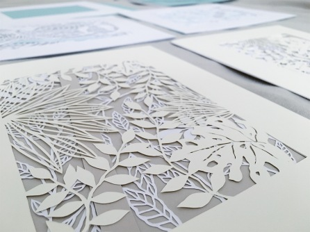 tropical-leaves-contemporary-home-decor-papercut-art-layered-framed