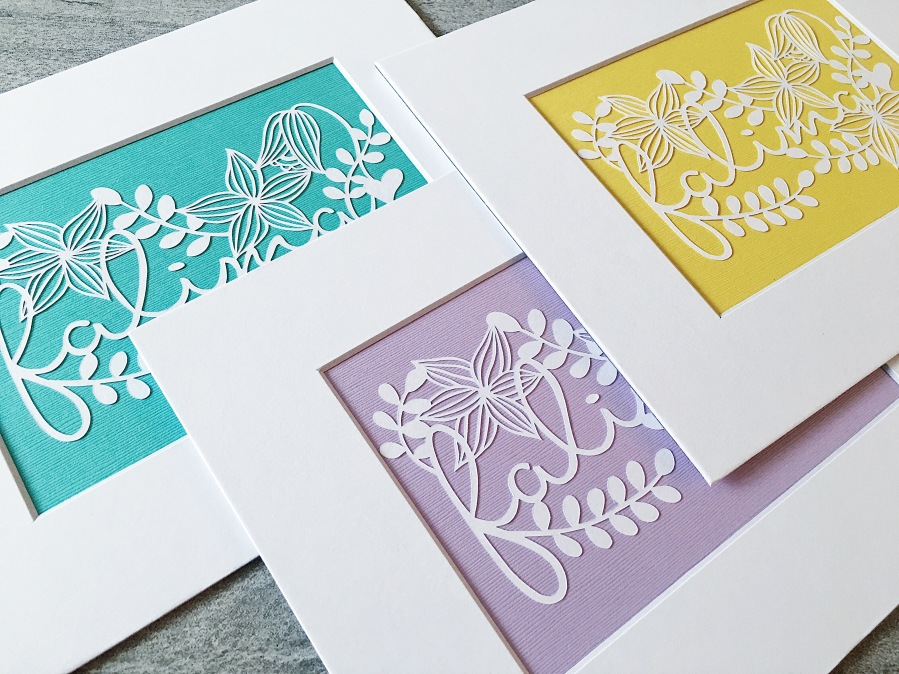 bespoke-family-papercut-art-set-familyname-scherenschnitte-papercutting-matted-pastel-wall-art-contemporary-paper-art