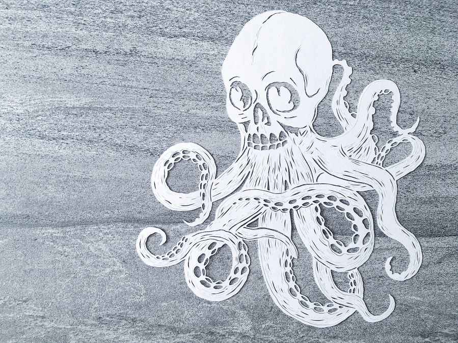 bespoke-papercut-art-scherenschnitte-papercutting-handcut-octopus-skull-intricate-artwork-contemporary-art