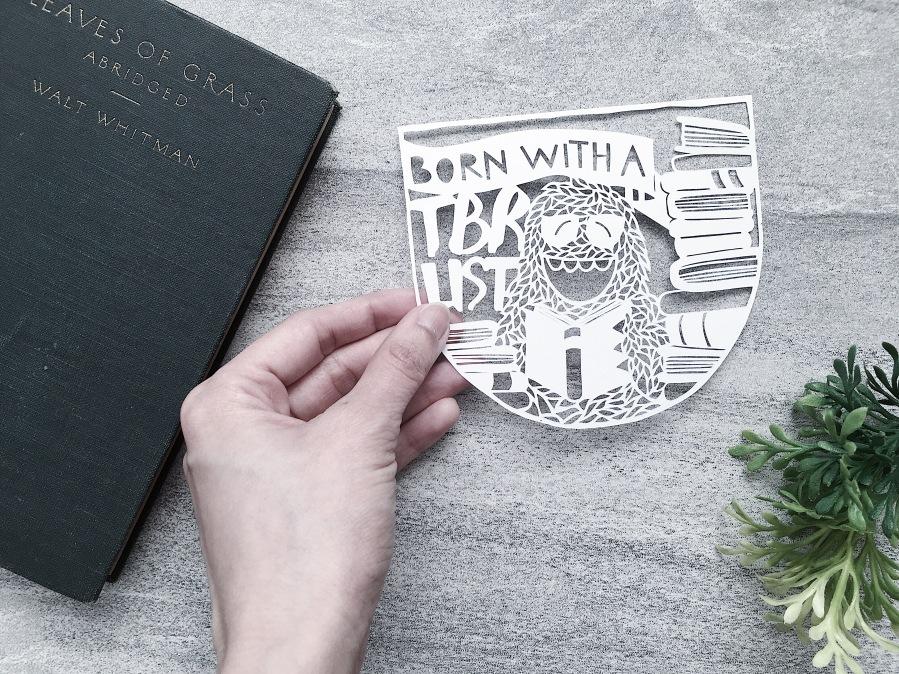 bookish-gift-ooak-papercut-art-yeti-to-be-read-tbr-list-papercutting