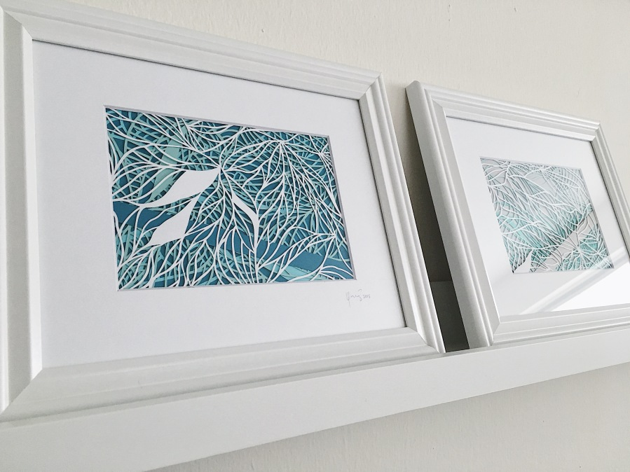 contemporary-art-abstract-papercutting-artwork-multilayer-papercut-framed-wall-art-blue-and-green