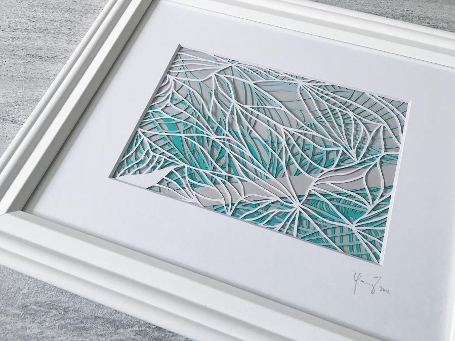 contemporary-art-papercutting-green-and-grey-papercut-art-framed-scherenschnitte-home-decor