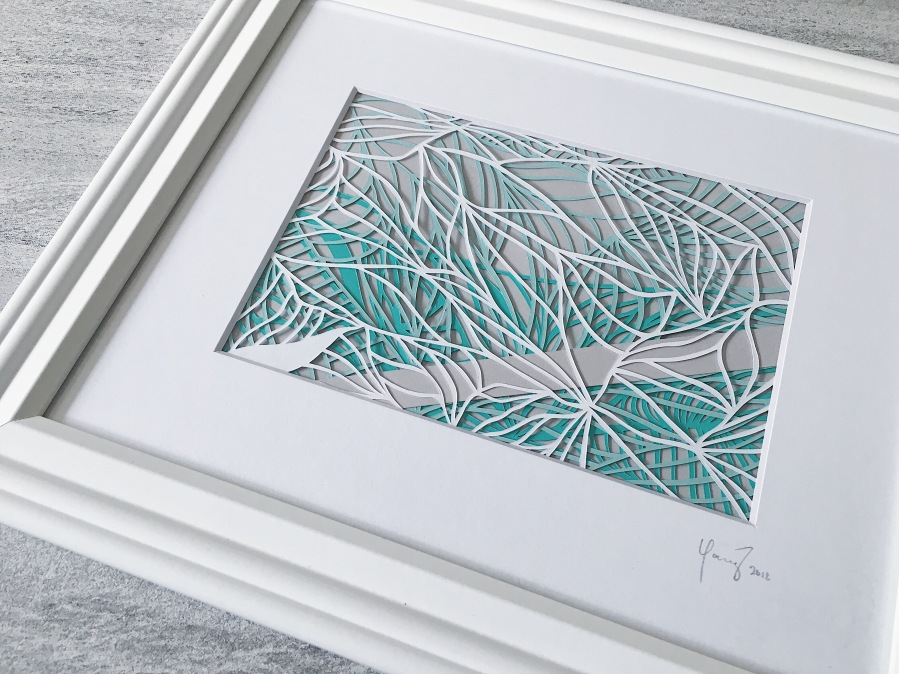 contemporary-art-papercutting-green-and-grey-papercut-art-framed-scherenschnitte-home-decor