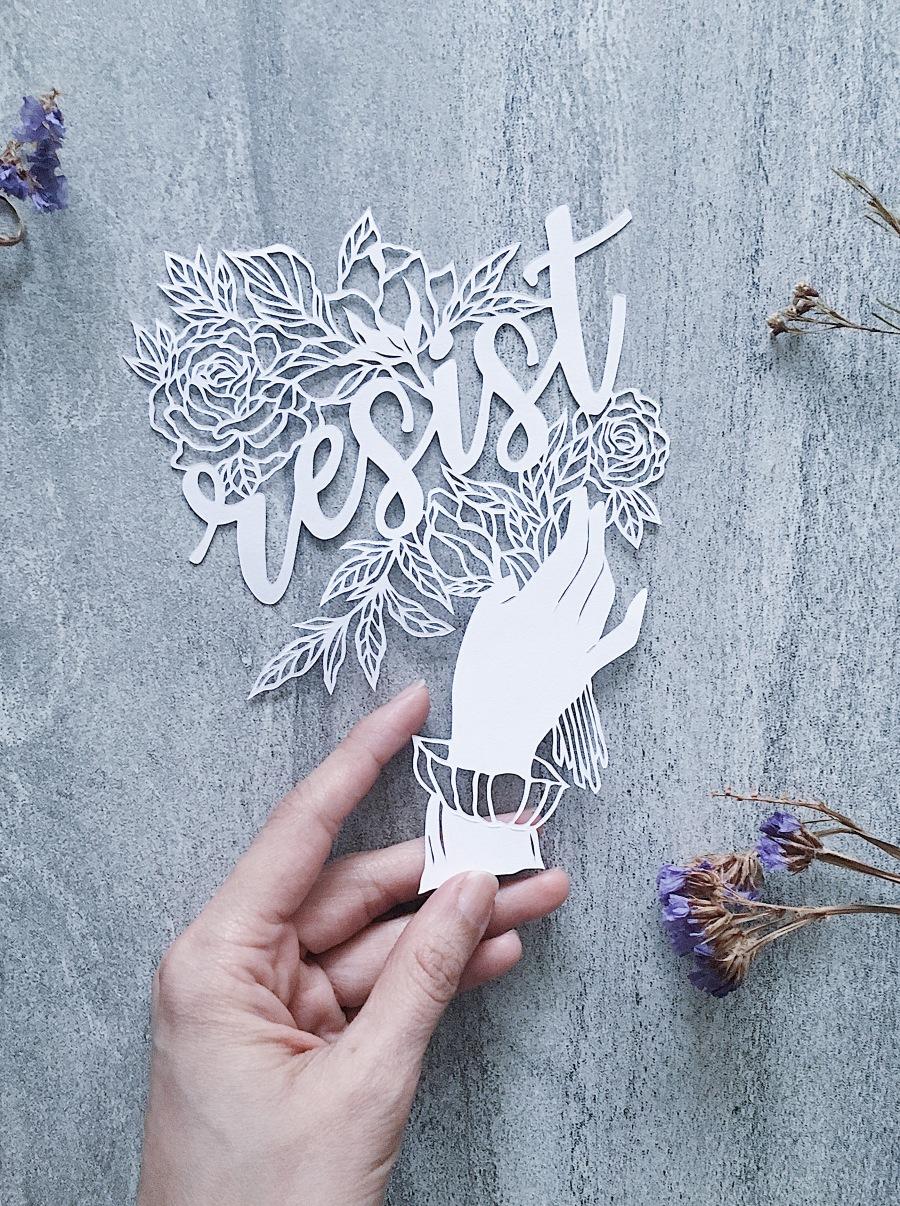 feminist-art-papercutting-resist-papercut-art-internationalwomensmonth-empowering-art-scherenschnitte