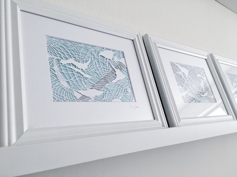 framed-paper-art-papercutting-blue-and-grey-layers-gray-contemporary-artwork-papercut-wall-art