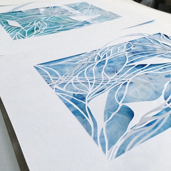 papercut-art-acrylics-mixed-media-art-3D-art-contemporary-art-home-decor-blue-and-white-art