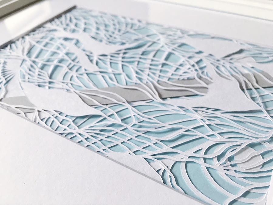 papercutting-abstract-art-framed-papercut-aart-layers-contemporary-art-scherenschnitte-blue-and-grey-art