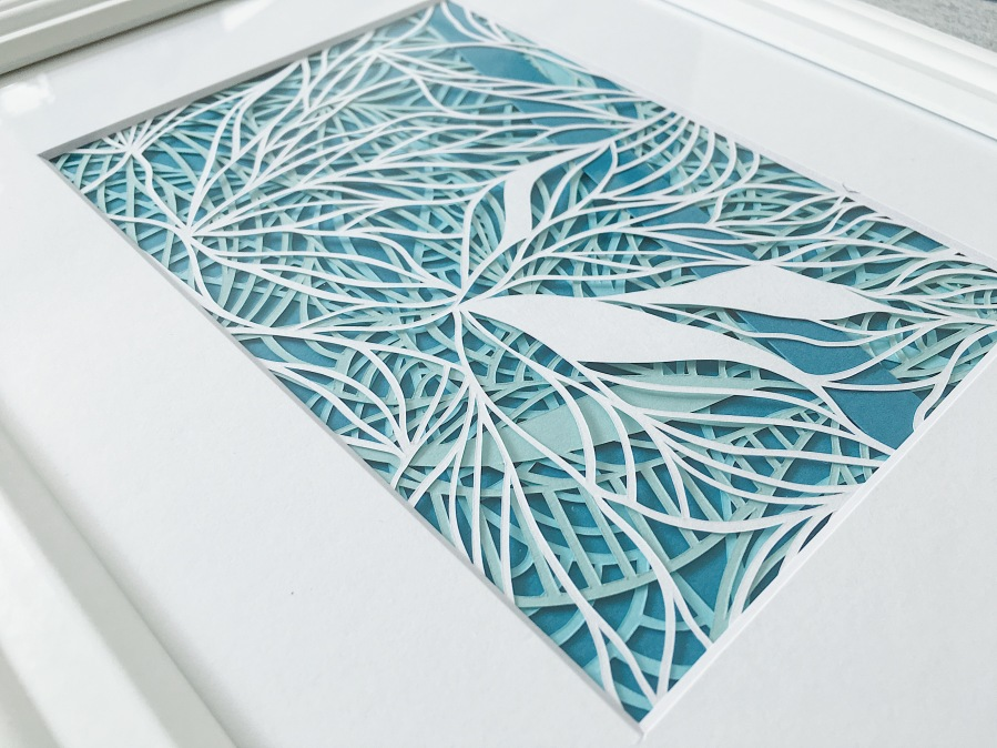 papercutting-blue-and-green-artwork-contemporary-art-abstract-papercut-art-framed-home-decor