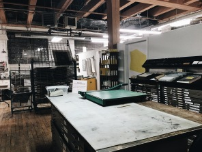 View of Spudnik Press print shop in Chicago