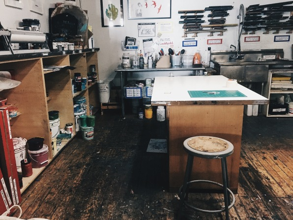 View of the screen printing area where I did some papercutting art on my first day of training.
